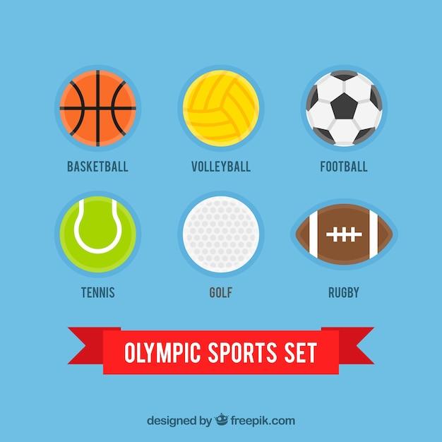 Flat bal olympische spelen collectie Gratis Vector