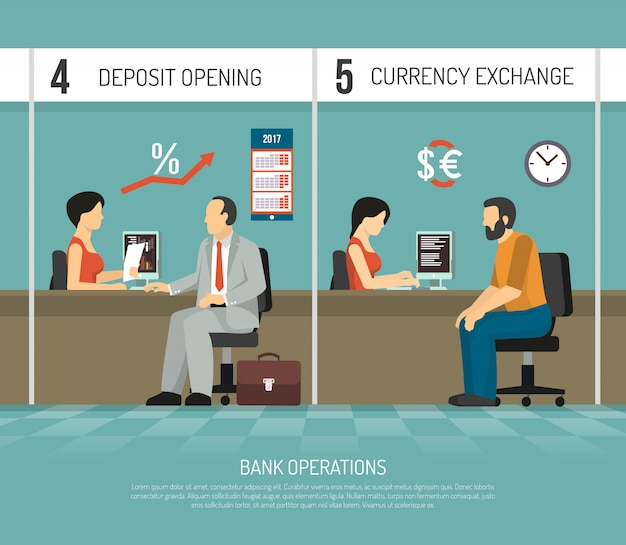 Flat bank illustratie Gratis Vector