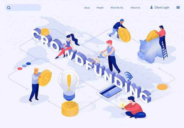 Flat banner crowdfunding vectorillustratie. Premium Vector
