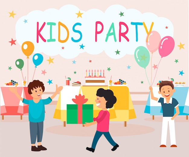 Flat banner is written kids party illustration. Premium Vector