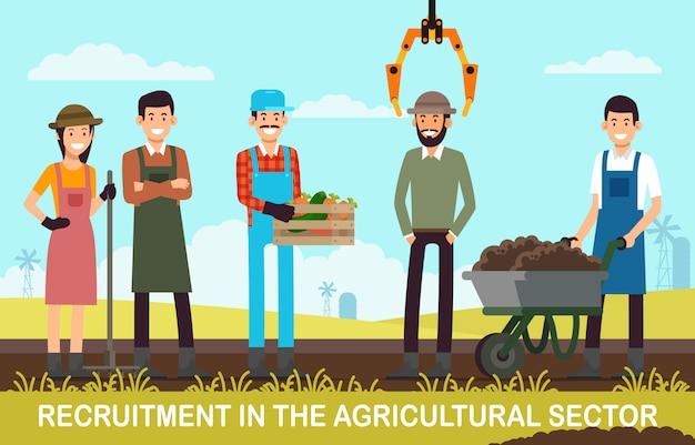 Flat banner recruitment in de landbouwsector. Premium Vector