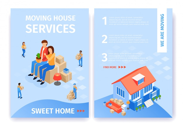 Flat banner set moving house services sweet home. Gratis Vector