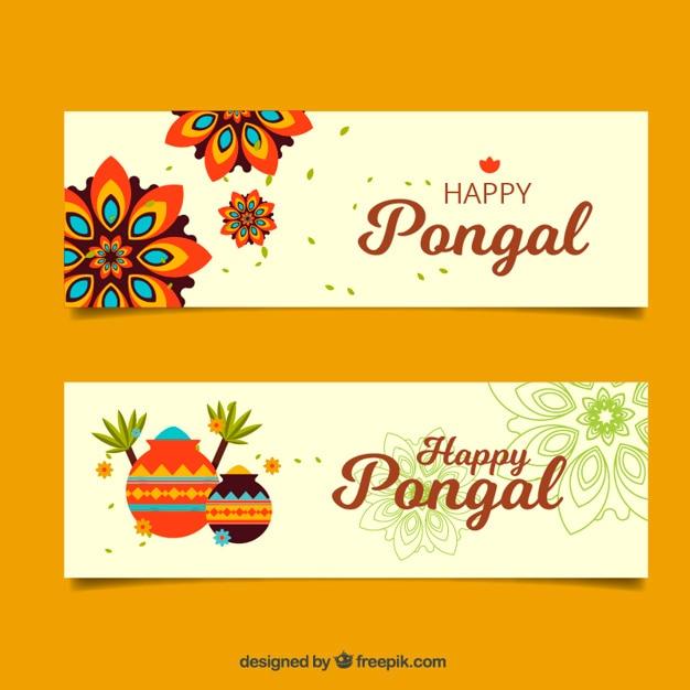 Flat banners met mandala's en sierpotten voor pongal Gratis Vector
