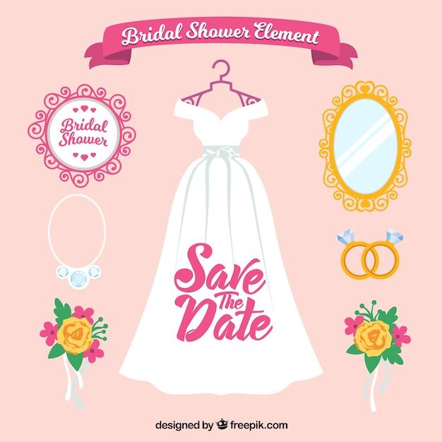 Flat bruiloft pak van vrouwelijke accessoires Gratis Vector