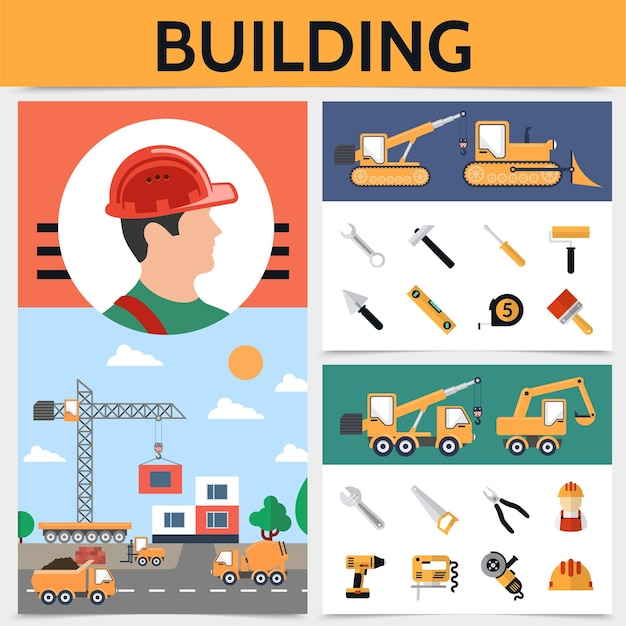 Flat building industrie concept met bouwer bouwvoertuigen gereedschappen en apparatuur illustratie Gratis Vector