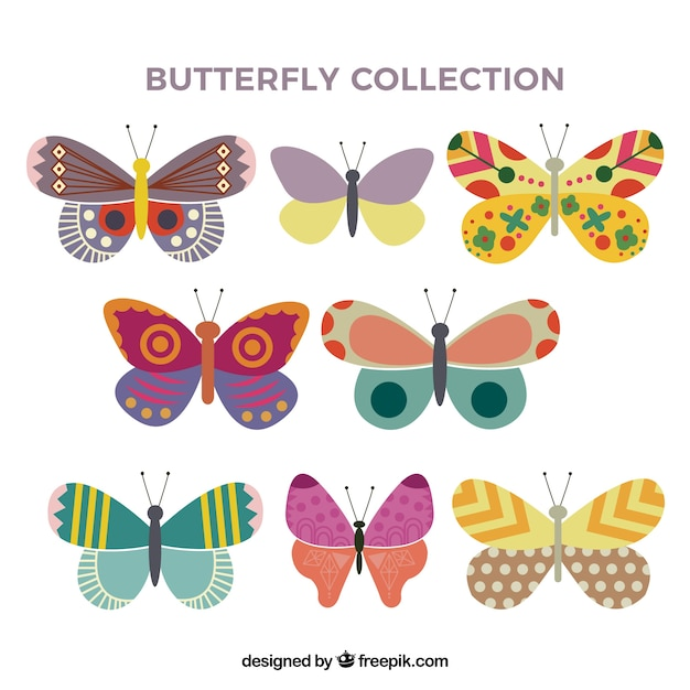 Flat butterfly collection Gratis Vector