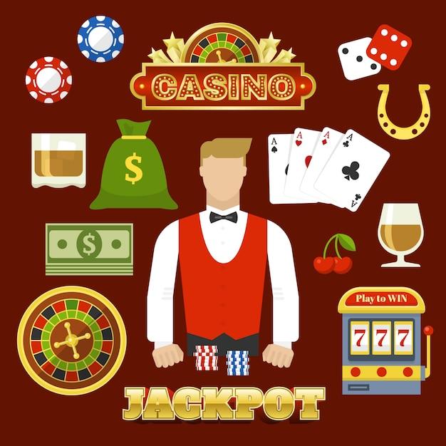 Flat casino elementen instellen Gratis Vector