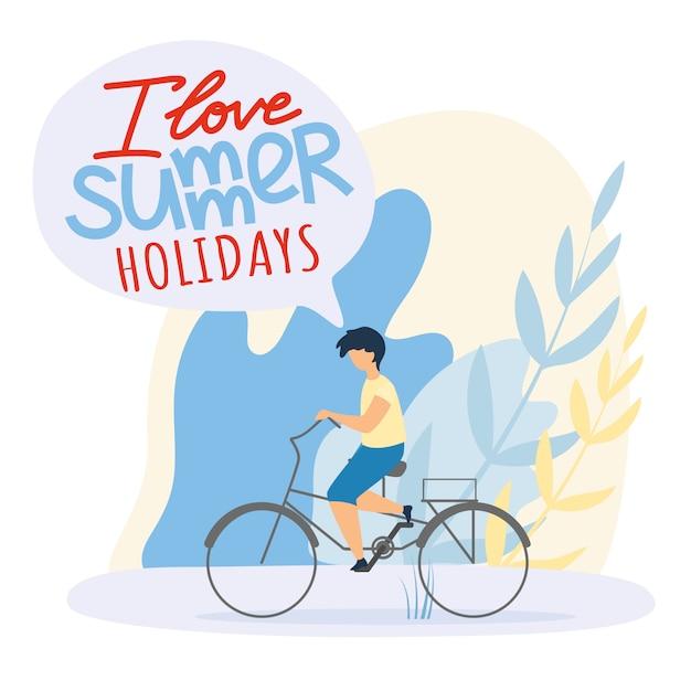 Flat child rides bicycle, i love summer holidays. Gratis Vector