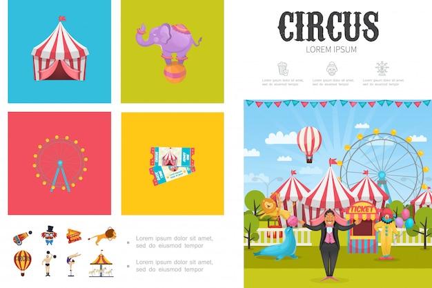 Flat circus compositie met tovenaar acrobaat clown strongman getrainde dieren reuzenrad carrousels tenten kaartjes kanon Gratis Vector