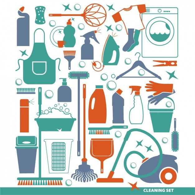 Flat cleaning tools set Gratis Vector