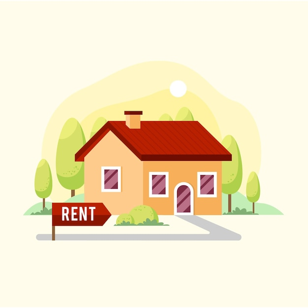 Flat design huis te huur Premium Vector