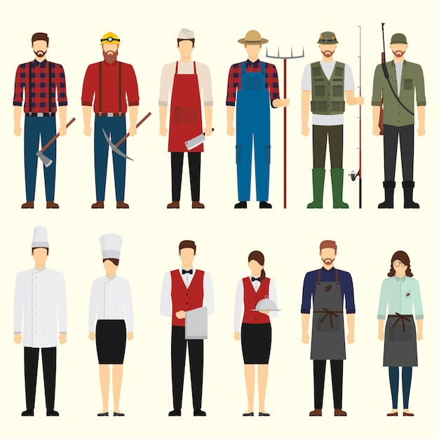 Flat design job character pack Premium Vector