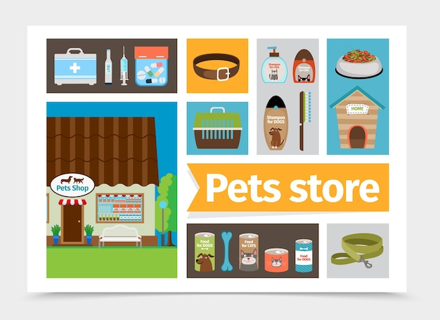 Flat dierenwinkel samenstelling Gratis Vector