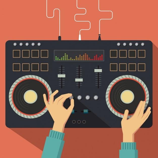 Flat dj controller met handen vector illustratie Gratis Vector