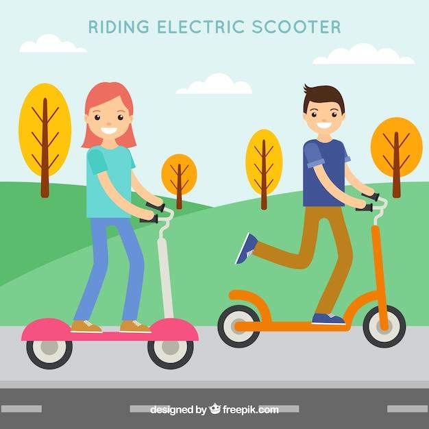 Flat elektrisch scooter ontwerp Gratis Vector