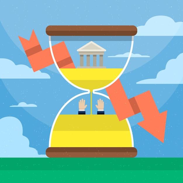 Flat faillissement concept Gratis Vector