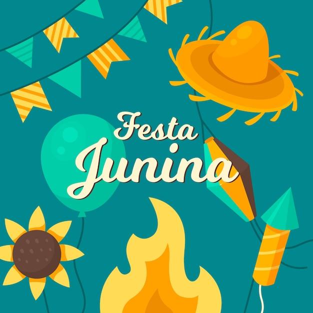 Flat festa junina achtergrond Gratis Vector