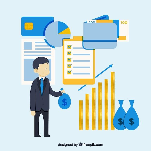 Flat finance concept met schattige stijl Gratis Vector