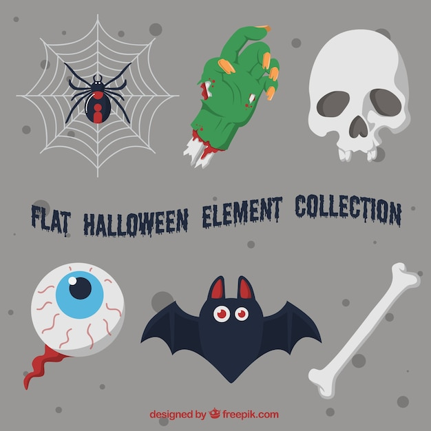 Flat halloween artikelen selectie Gratis Vector