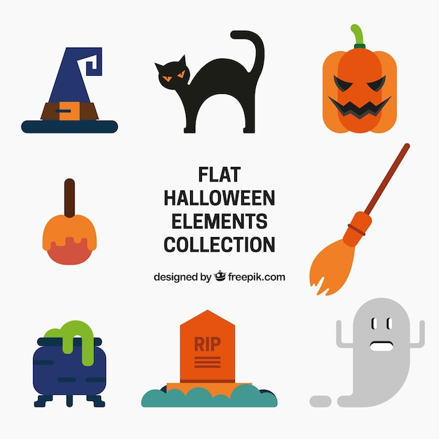 Halloween Artikelen.Flat Halloween Artikelen Selectie Vector Gratis Download