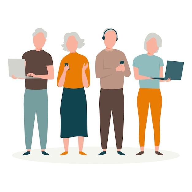 Flat-hand getekend senioren met behulp van technologie illustratie Gratis Vector