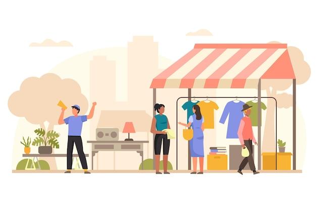 Flat-hand getekend vlooienmarkt illustratie met mensen Gratis Vector