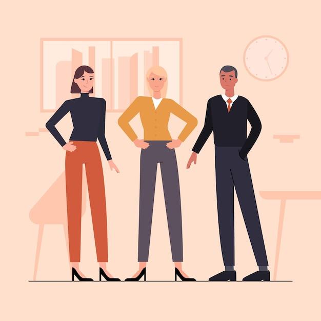 Flat-hand getekend vrouwelijke teamleider illustratie Gratis Vector