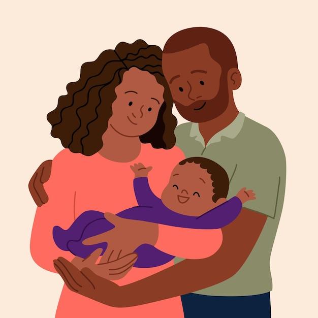 Flat-hand getekend zwarte familie illustratie met een baby Gratis Vector