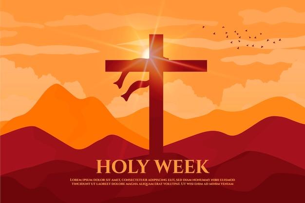 Flat heilige week evenement Gratis Vector