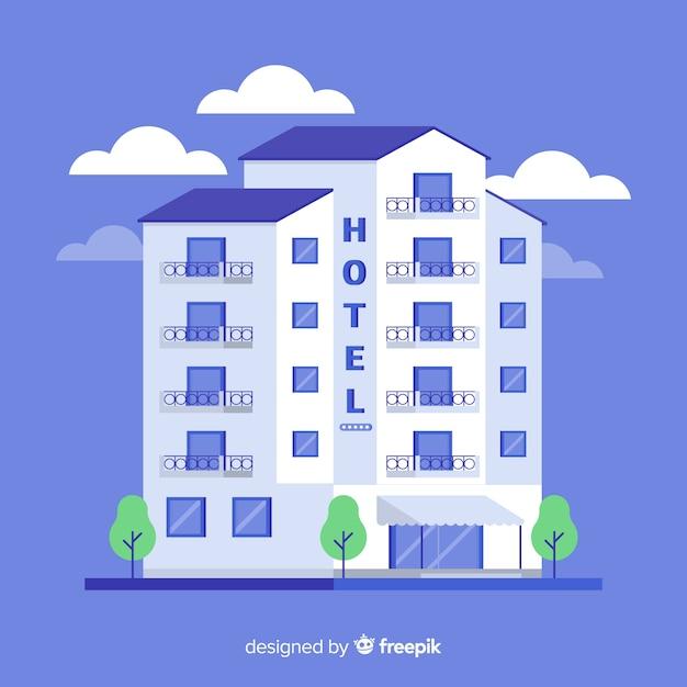 Flat hotel gebouw illustratie Gratis Vector