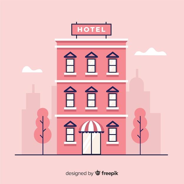 Flat hotelgebouw in de stad Gratis Vector