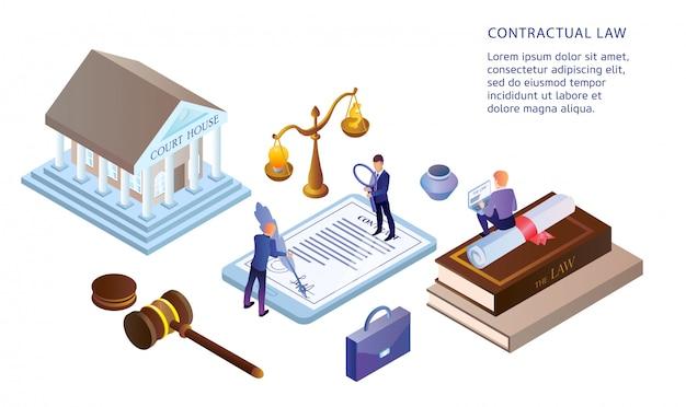 Flat illustration contractueel recht Premium Vector