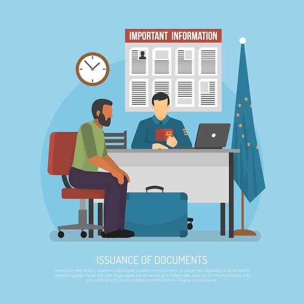 Flat immigration illustration Gratis Vector