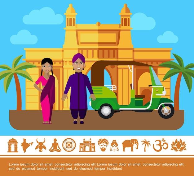 Flat india travel kleurrijke concept Gratis Vector