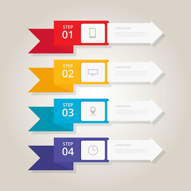Flat infographic step banners Premium Vector