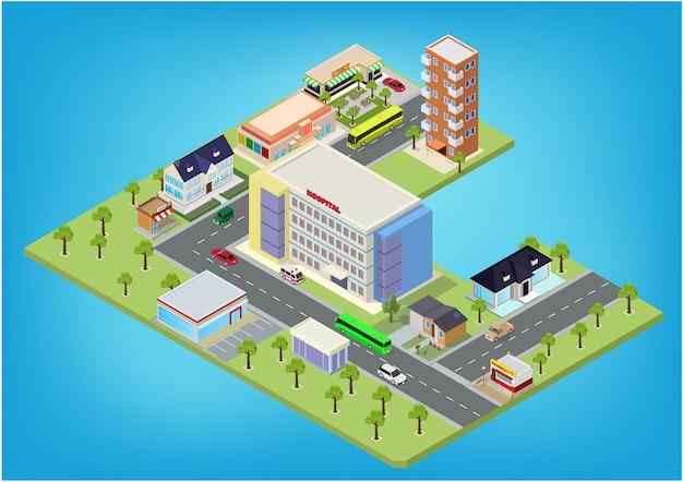 Flat isometrische stad megalopolis blokken Premium Vector