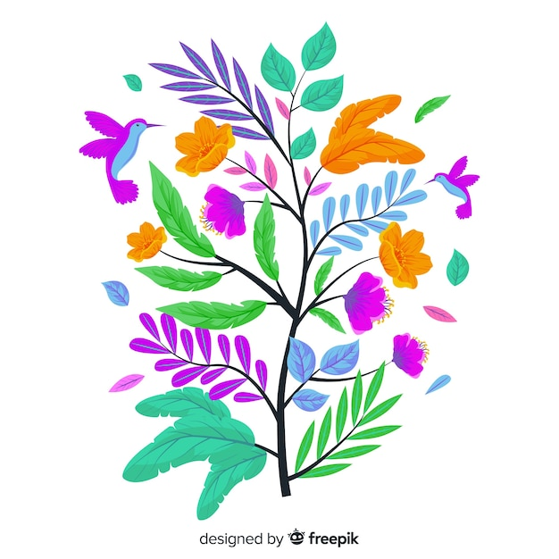 Flat kleurrijke bloementak Gratis Vector