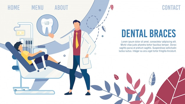 Flat landing page design met tandarts serve child Premium Vector