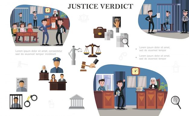 Flat law systeemelementen samenstelling met documenten justitie schalen hamer gevangene politieagent rechter advocaten verschillende situaties tijdens hoorzittingen Gratis Vector