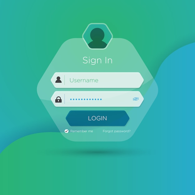 Flat login user interface. Premium Vector
