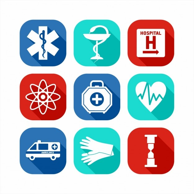Flat medical icon set Gratis Vector