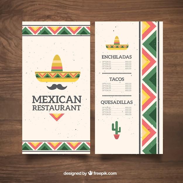 Flat mexicaanse hoed en een snor mexicaans eten menu for Ideas cocina rapida