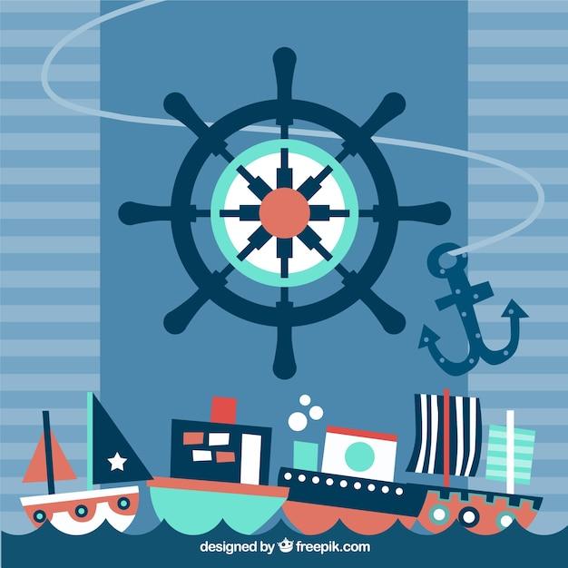 Flat nautische achtergrond met grote roer en meerdere schepen Gratis Vector