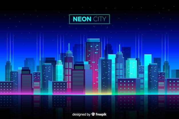 Flat neon cityscape achtergrond Gratis Vector