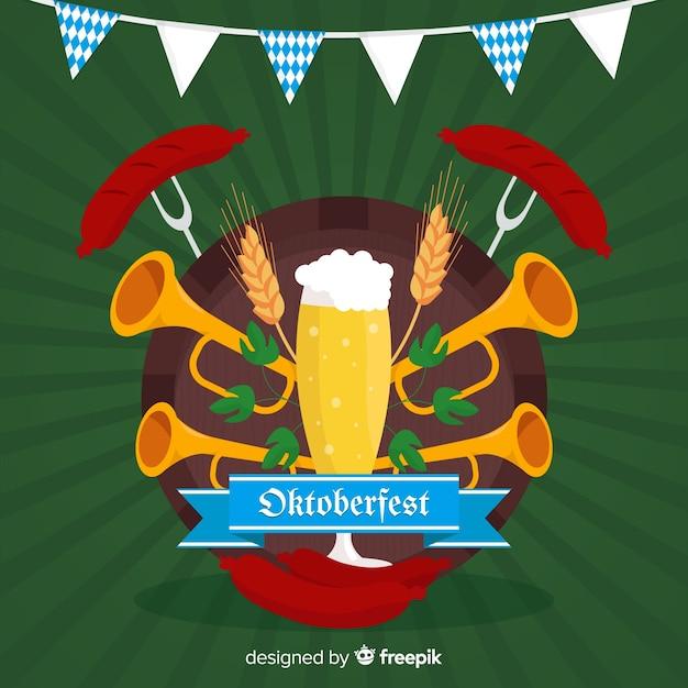 Flat oktoberfest met bier en trompetten Gratis Vector