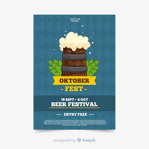 Flat oktoberfest poster sjabloon Gratis Vector