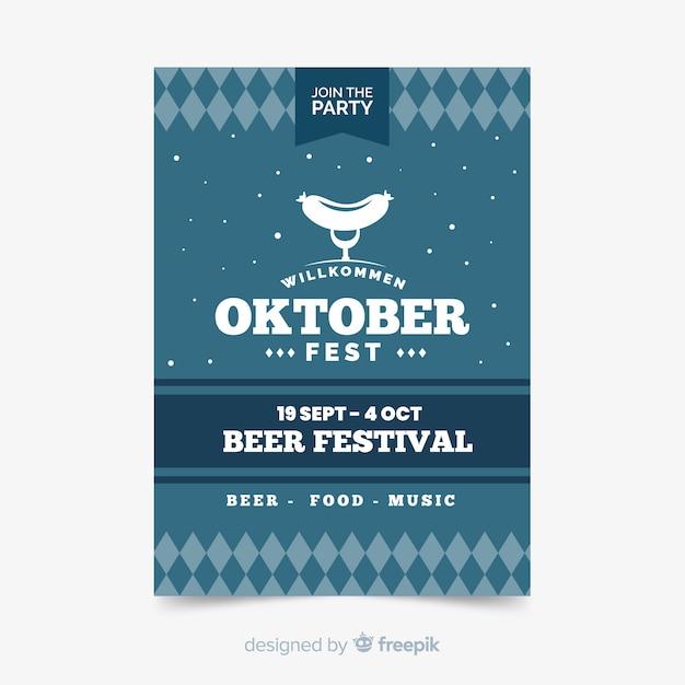 Flat oktoberfest sjabloon folder Gratis Vector