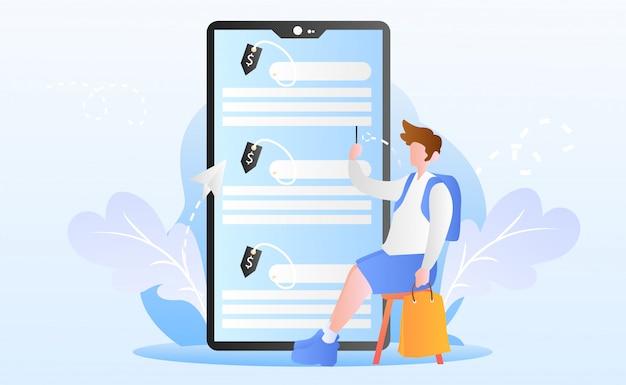 Flat online winkelen illustratie Premium Vector