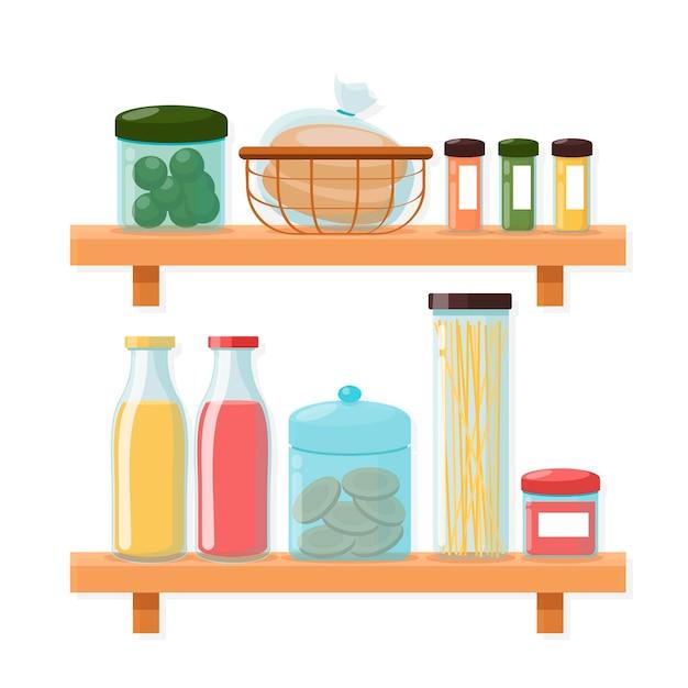 Flat pantry collectie geïllustreerd Gratis Vector