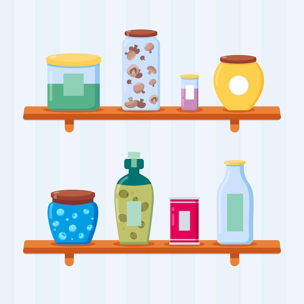 Flat pantry collectie illustratie Premium Vector